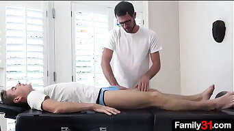 The massage starts innocently, but the doctor's hands seem to be touching the boy's crotch