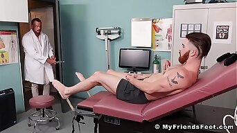 Bearded tattoo jock destined up and tickled hard in hospital bed