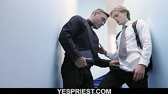 Hot priest delivers warm creampie in young boy's tight asshole